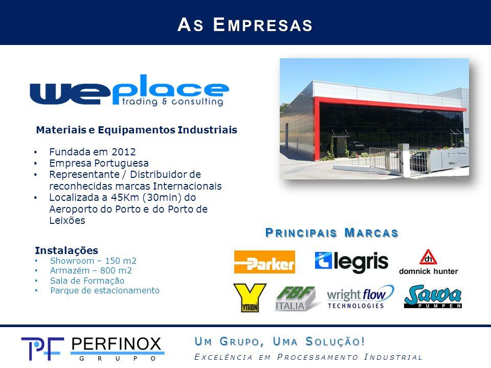 Materiais e Equipamentos Industriais A S E MPRESAS Instalações Showroom – 150 m2 Armazém – 800 m2 Sala de Formação Parque de estacionamento Fundada em