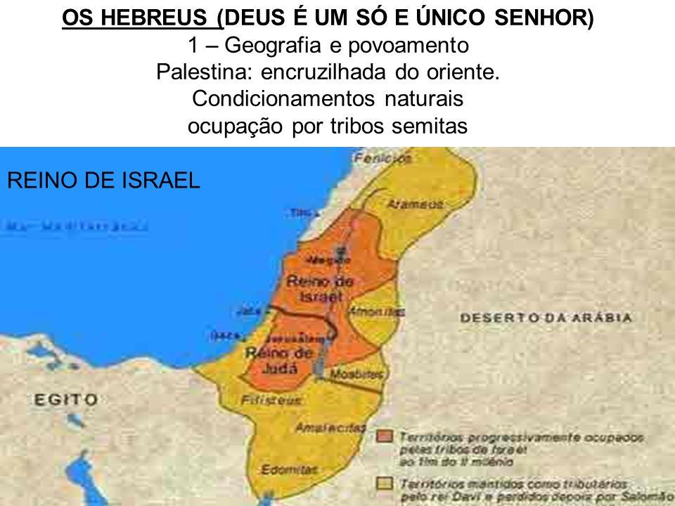 REINO DE ISRAEL OS HEBREUS (DEUS É UM SÓ E ÚNICO SENHOR) 1 – Geografia e povoamento Palestina: encruzilhada do oriente. Condicionamentos naturais ocup