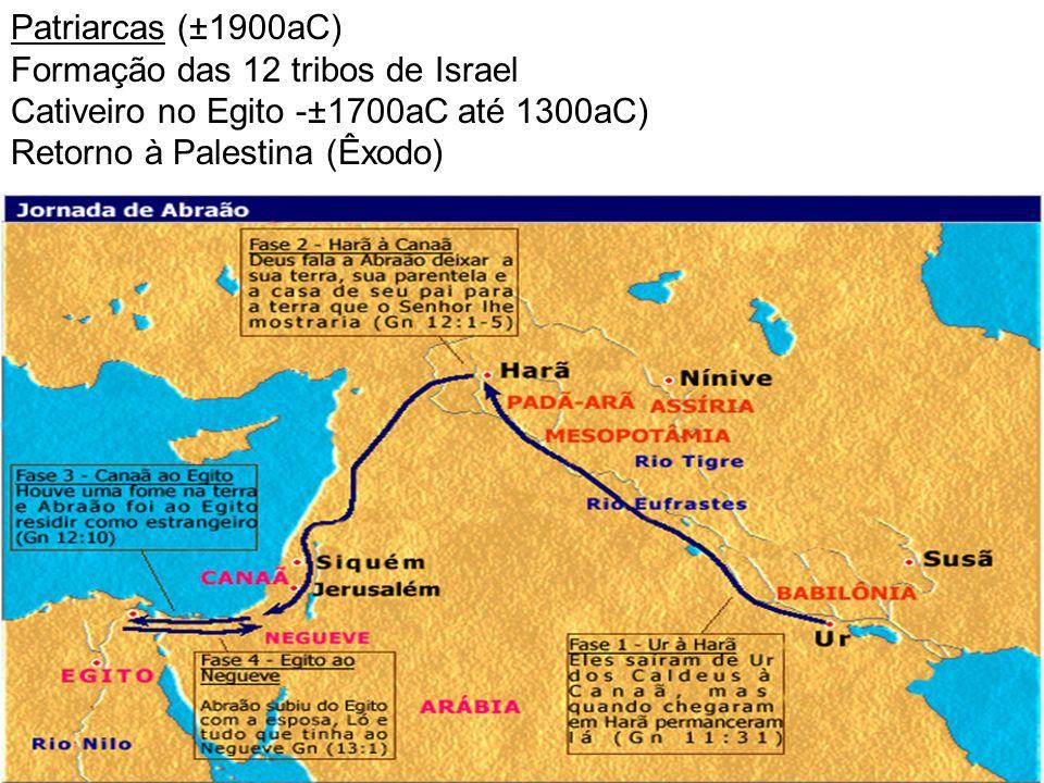 Patriarcas (±1900aC) Formação das 12 tribos de Israel Cativeiro no Egito -±1700aC até 1300aC) Retorno à Palestina (Êxodo)