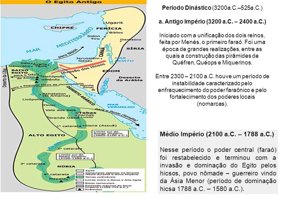 Período Dinástico (3200a.C.–525a.C.) a. Antigo Império (3200 a.C. – 2400 a.C.) Iniciado com a unificação dos dois reinos, feita por Menés, o primeiro