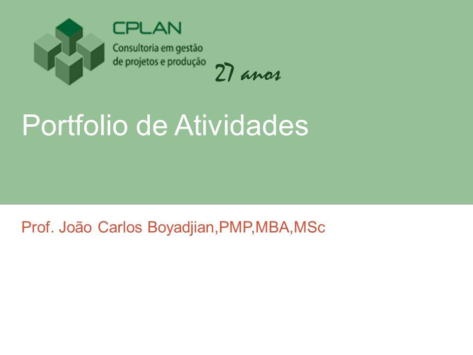 27 anos Portfolio de Atividades Prof. João Carlos Boyadjian,PMP,MBA,MSc