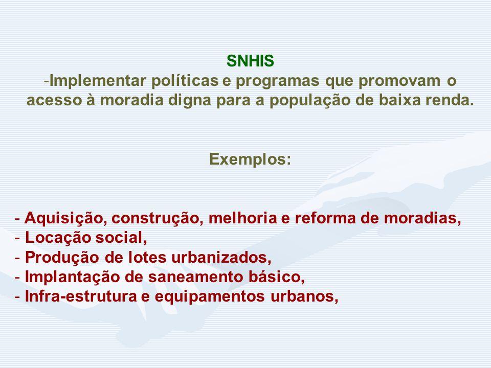 SNHIS -Implementar políticas e programas que promovam o acesso à moradia digna para a população de baixa renda.