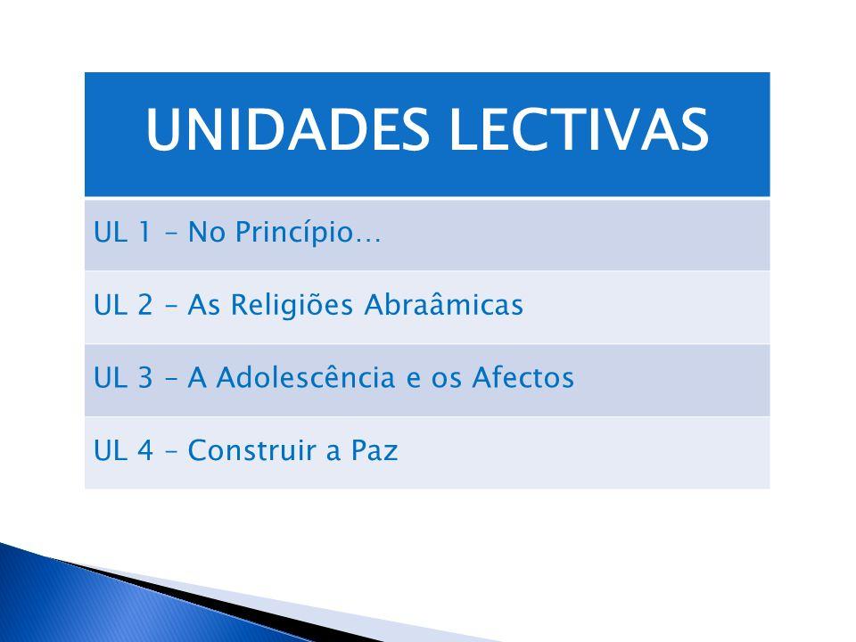 UNIDADES LECTIVAS UL 1 – No Princípio… UL 2 – As Religiões Abraâmicas UL 3 – A Adolescência e os Afectos UL 4 – Construir a Paz