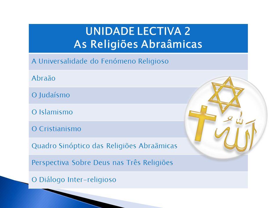 UNIDADE LECTIVA 2 As Religiões Abraâmicas A Universalidade do Fenómeno Religioso Abraão O Judaísmo O Islamismo O Cristianismo Quadro Sinóptico das Rel