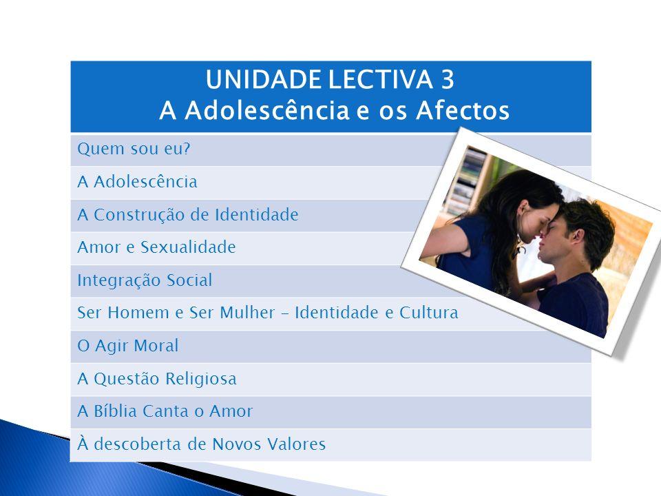UNIDADE LECTIVA 3 A Adolescência e os Afectos Quem sou eu? A Adolescência A Construção de Identidade Amor e Sexualidade Integração Social Ser Homem e