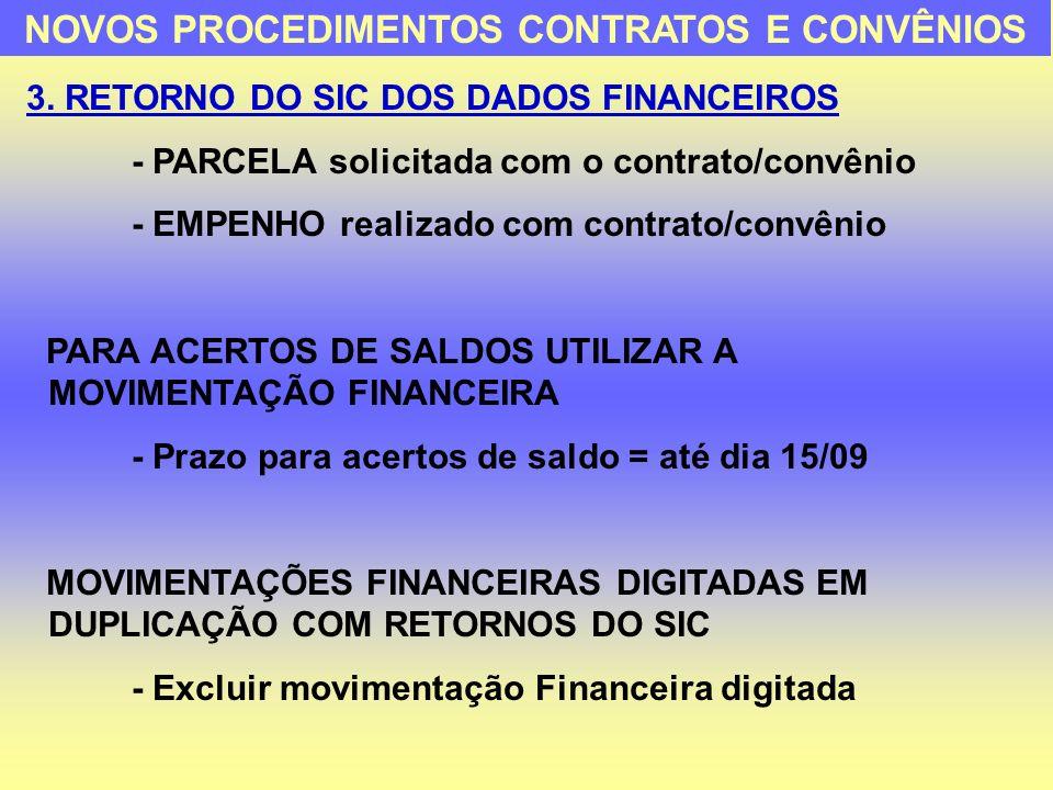 3. RETORNO DO SIC DOS DADOS FINANCEIROS - PARCELA solicitada com o contrato/convênio - EMPENHO realizado com contrato/convênio PARA ACERTOS DE SALDOS