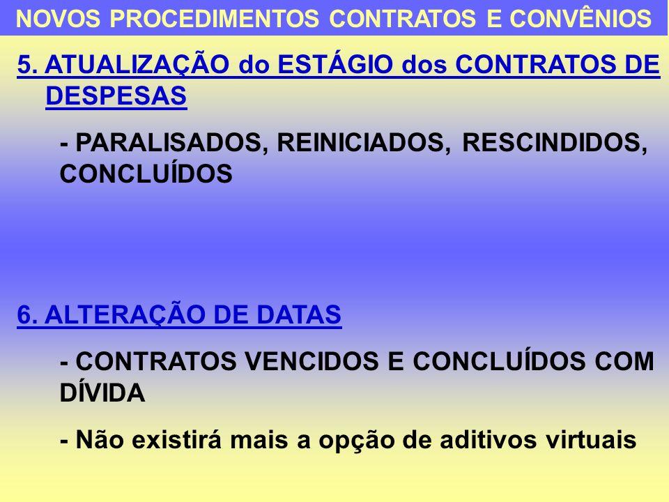 5. ATUALIZAÇÃO do ESTÁGIO dos CONTRATOS DE DESPESAS - PARALISADOS, REINICIADOS, RESCINDIDOS, CONCLUÍDOS 6. ALTERAÇÃO DE DATAS - CONTRATOS VENCIDOS E C