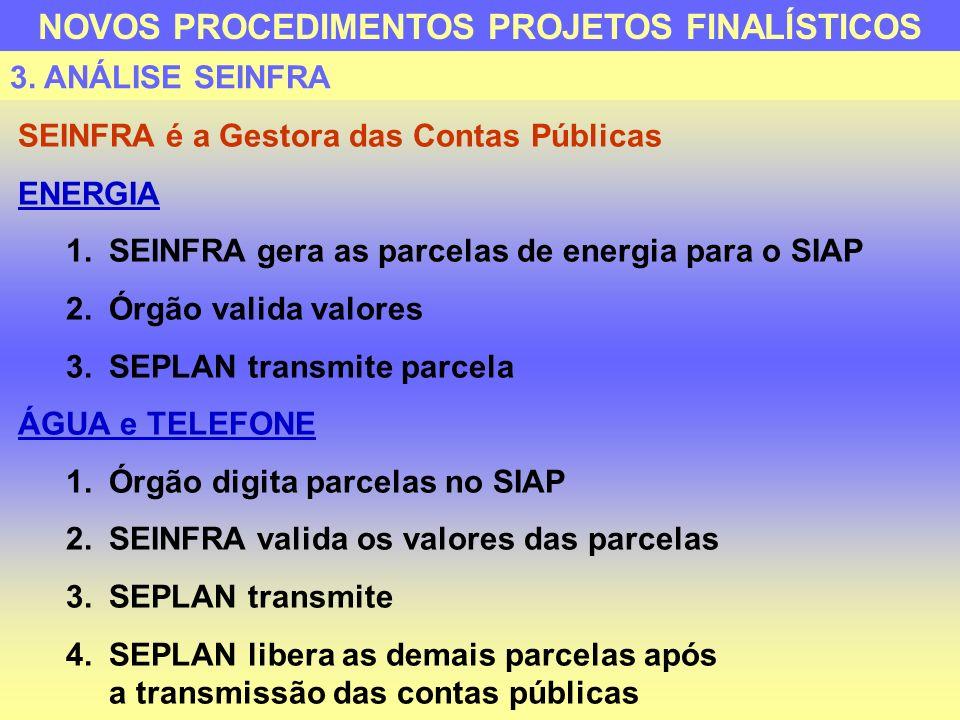 SEINFRA é a Gestora das Contas Públicas ENERGIA 1.SEINFRA gera as parcelas de energia para o SIAP 2.Órgão valida valores 3.SEPLAN transmite parcela ÁG