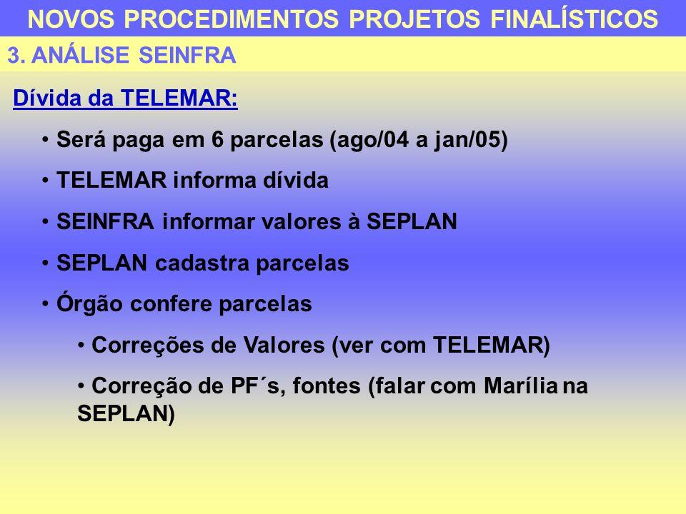 Dívida da TELEMAR: Será paga em 6 parcelas (ago/04 a jan/05) TELEMAR informa dívida SEINFRA informar valores à SEPLAN SEPLAN cadastra parcelas Órgão c