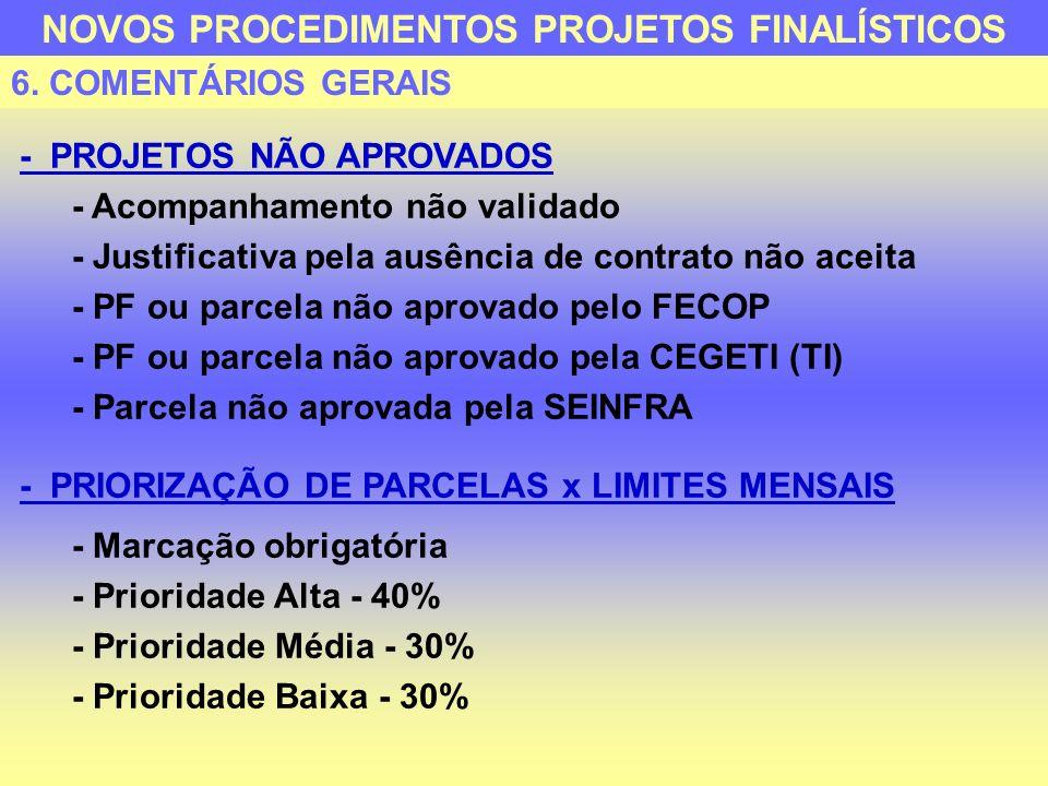 - LIMITES FINANCEIROS - Remanejamento Manutenção/Finalístico com autorização da SECON - Atualização/aumento dos limites realizada pela SECON com visualização no SIAP - RELATÓRIO DE INCONSISTÊNCIAS - 0 PÁGINA - TRANSMITE PARCELA - 1 PÁGINA - SOLICITA PARCELA - 2 ou + PÁGINAS - FECHA PARCELA - TRANSMISSÃO COM PROBLEMAS Será explicitado o problema NOVOS PROCEDIMENTOS PROJETOS FINALÍSTICOS 6.