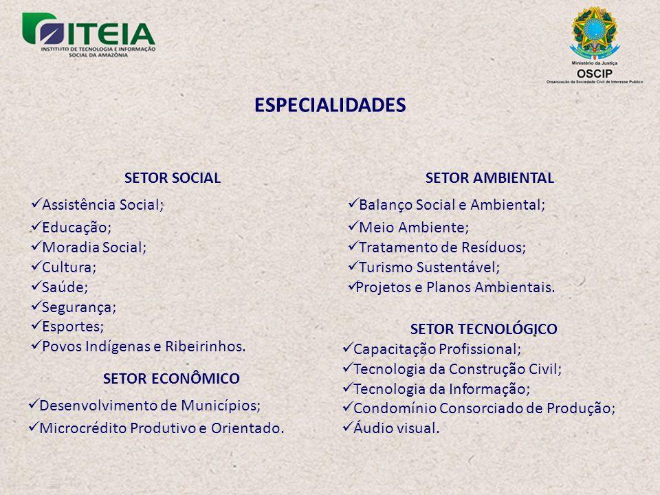 ESPECIALIDADES SETOR AMBIENTAL Balanço Social e Ambiental; Meio Ambiente; Tratamento de Resíduos; Turismo Sustentável; Projetos e Planos Ambientais.
