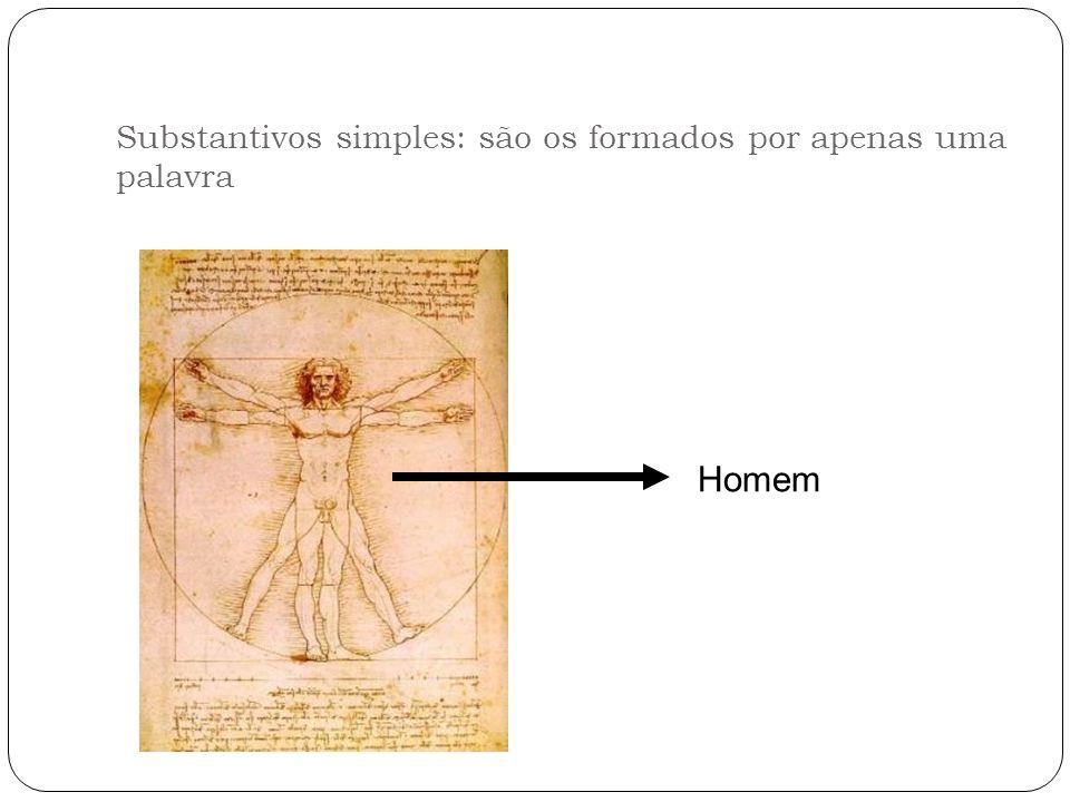 Substantivos simples: são os formados por apenas uma palavra Homem