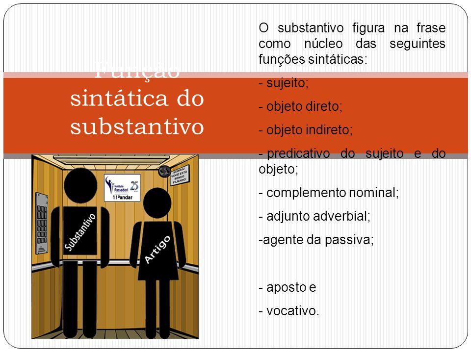 Função sintática do substantivo O substantivo figura na frase como núcleo das seguintes funções sintáticas: - sujeito; - objeto direto; - objeto indir
