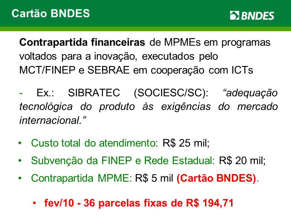 Contrapartida financeiras de MPMEs em programas voltados para a inovação, executados pelo MCT/FINEP e SEBRAE em cooperação com ICTs - Ex.: SIBRATEC (S