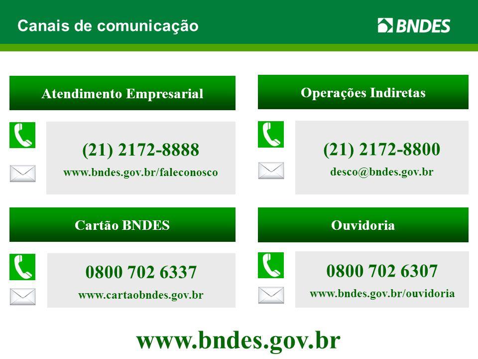 www.bndes.gov.br Canais de comunicação Cartão BNDES 0800 702 6337 www.cartaobndes.gov.br Operações Indiretas (21) 2172-8800 desco@bndes.gov.br Atendim