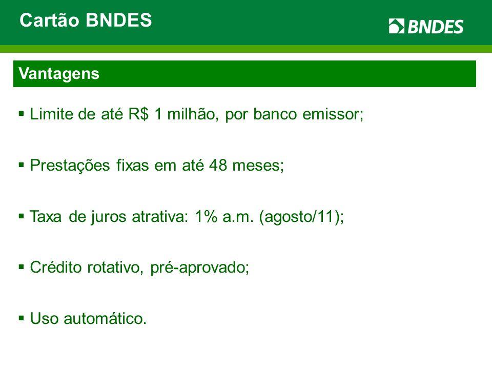 Cartão BNDES Divulgação - Eventos BNDES e Inovação DataLocal 06/04/2011João Pessoa - PB 03/05/2011São Carlos - SP 24/05/2011Manaus - AM 29/09/2011Porto Alegre - RS 04/10/2011Belo Horizonte - MG 05/10/2011Curitiba - PR