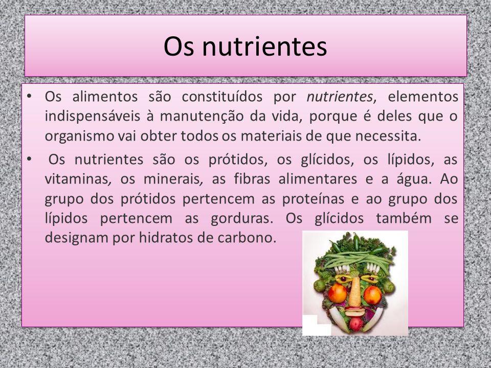 Os nutrientes Os alimentos são constituídos por nutrientes, elementos indispensáveis à manutenção da vida, porque é deles que o organismo vai obter todos os materiais de que necessita.