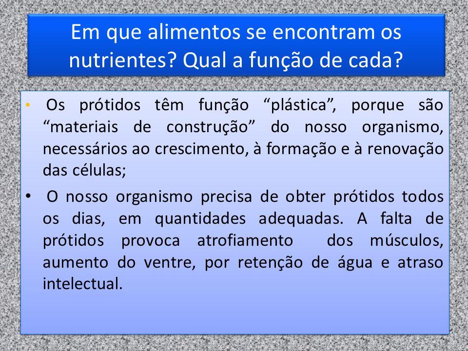 Em que alimentos se encontram os nutrientes? Qual a função de cada? Os prótidos têm função plástica, porque são materiais de construção do nosso organ
