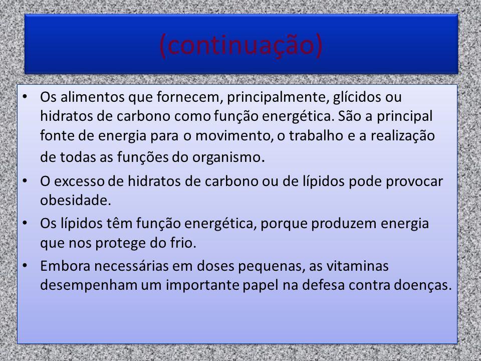(continuação) Os alimentos que fornecem, principalmente, glícidos ou hidratos de carbono como função energética. São a principal fonte de energia para
