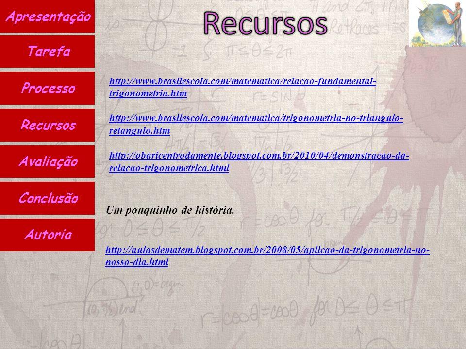 Autoria Conclusão Avaliação Recursos Processo Apresentação Tarefa http://www.brasilescola.com/matematica/relacao-fundamental- trigonometria.htm http://www.brasilescola.com/matematica/trigonometria-no-triangulo- retangulo.htm http://obaricentrodamente.blogspot.com.br/2010/04/demonstracao-da- relacao-trigonometrica.html Um pouquinho de história.