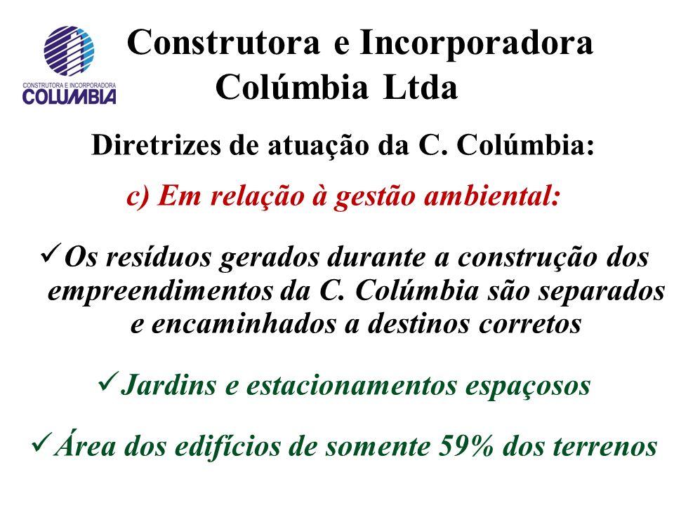 Construtora e Incorporadora Colúmbia Ltda Diretrizes de atuação da C. Colúmbia: b) Em relação ao projeto dos empreendimentos (cont.): Aconchego Áreas