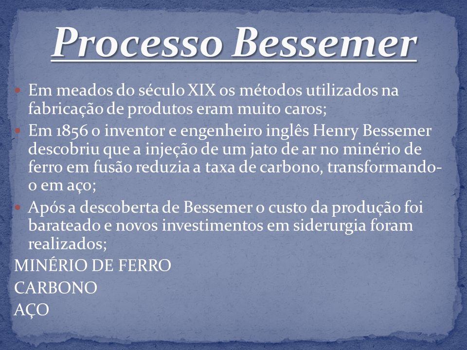 Em meados do século XIX os métodos utilizados na fabricação de produtos eram muito caros; Em 1856 o inventor e engenheiro inglês Henry Bessemer descob