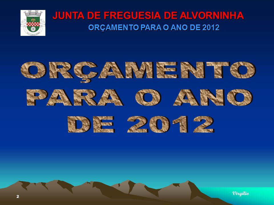 JUNTA DE FREGUESIA DE ALVORNINHA ORÇAMENTO PARA O ANO DE 2012 Virgílio 33 PLANO PLURIANUAL DE INVESTIMENTOSPLANO PLURIANUAL DE INVESTIMENTOS Agricultura, Pecuária, Caça e Pesca – 21.000,00Agricultura, Pecuária, Caça e Pesca – 21.000,00 Limpeza de Bermas e Caminhos Conservação de caminhos Aquisição de materiais Aquisição de manilhas