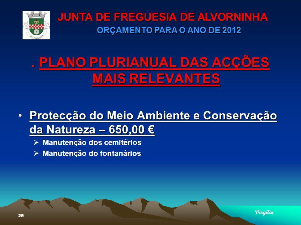 JUNTA DE FREGUESIA DE ALVORNINHA ORÇAMENTO PARA O ANO DE 2012 Virgílio 25.