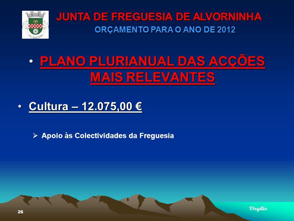 JUNTA DE FREGUESIA DE ALVORNINHA ORÇAMENTO PARA O ANO DE 2012 Virgílio 26 PLANO PLURIANUAL DAS ACÇÕES MAIS RELEVANTESPLANO PLURIANUAL DAS ACÇÕES MAIS RELEVANTES Cultura – 12.075,00Cultura – 12.075,00 Apoio às Colectividades da Freguesia