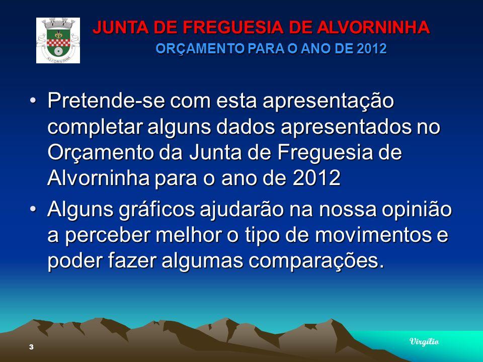 JUNTA DE FREGUESIA DE ALVORNINHA ORÇAMENTO PARA O ANO DE 2012 Virgílio 24 PLANO PLURIANUAL DAS ACÇÕES MAIS RELEVANTESPLANO PLURIANUAL DAS ACÇÕES MAIS RELEVANTES Acção Social – 18.670,00Acção Social – 18.670,00 Passeio Anual dos Idosos Festa de Natal dos Idosos Garantir Transporte dos Idosos de e para o Centro de Saúde Apoio para a criação do Lar de Idosos