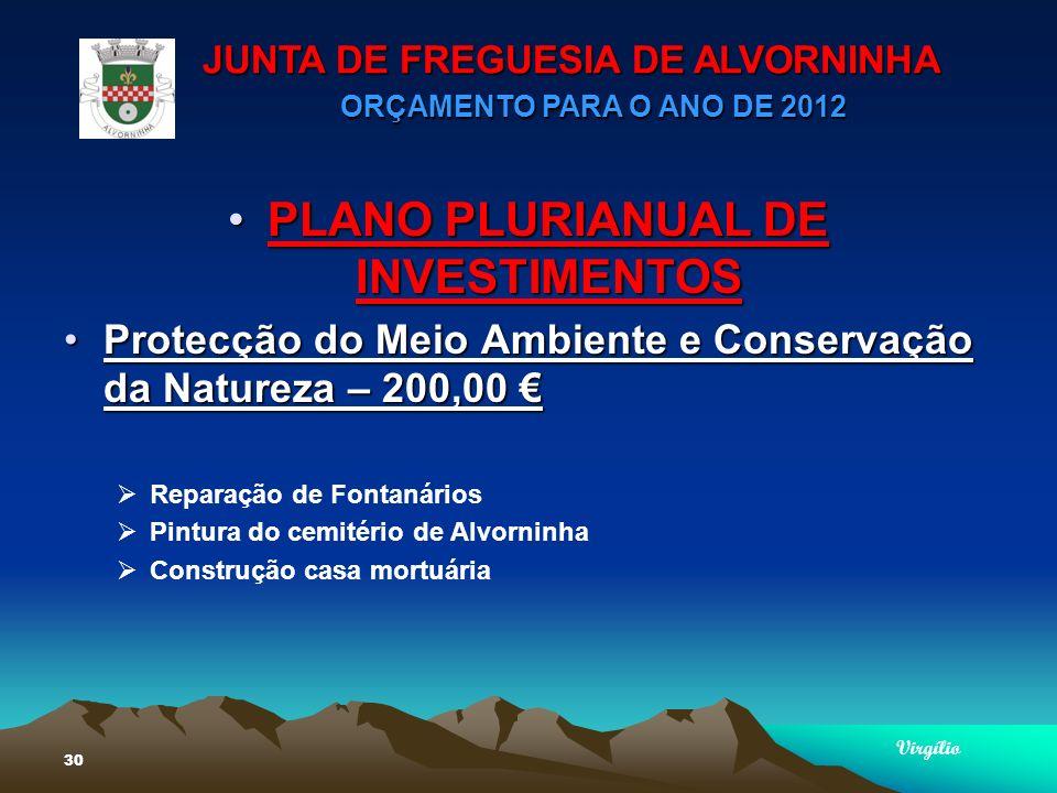 JUNTA DE FREGUESIA DE ALVORNINHA ORÇAMENTO PARA O ANO DE 2012 Virgílio 30 PLANO PLURIANUAL DE INVESTIMENTOSPLANO PLURIANUAL DE INVESTIMENTOS Protecção do Meio Ambiente e Conservação da Natureza – 200,00Protecção do Meio Ambiente e Conservação da Natureza – 200,00 Reparação de Fontanários Pintura do cemitério de Alvorninha Construção casa mortuária