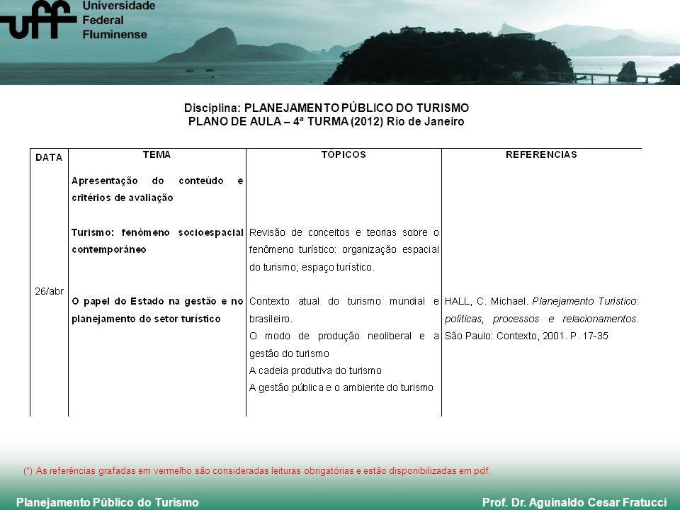 Planejamento Público do Turismo Prof. Dr. Aguinaldo Cesar Fratucci Disciplina: PLANEJAMENTO PÚBLICO DO TURISMO PLANO DE AULA – 4ª TURMA (2012) Rio de