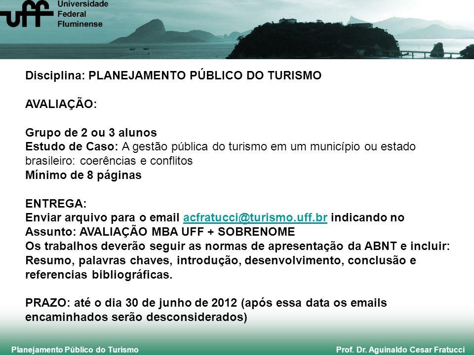 Disciplina: PLANEJAMENTO PÚBLICO DO TURISMO AVALIAÇÃO: Grupo de 2 ou 3 alunos Estudo de Caso: A gestão pública do turismo em um município ou estado br