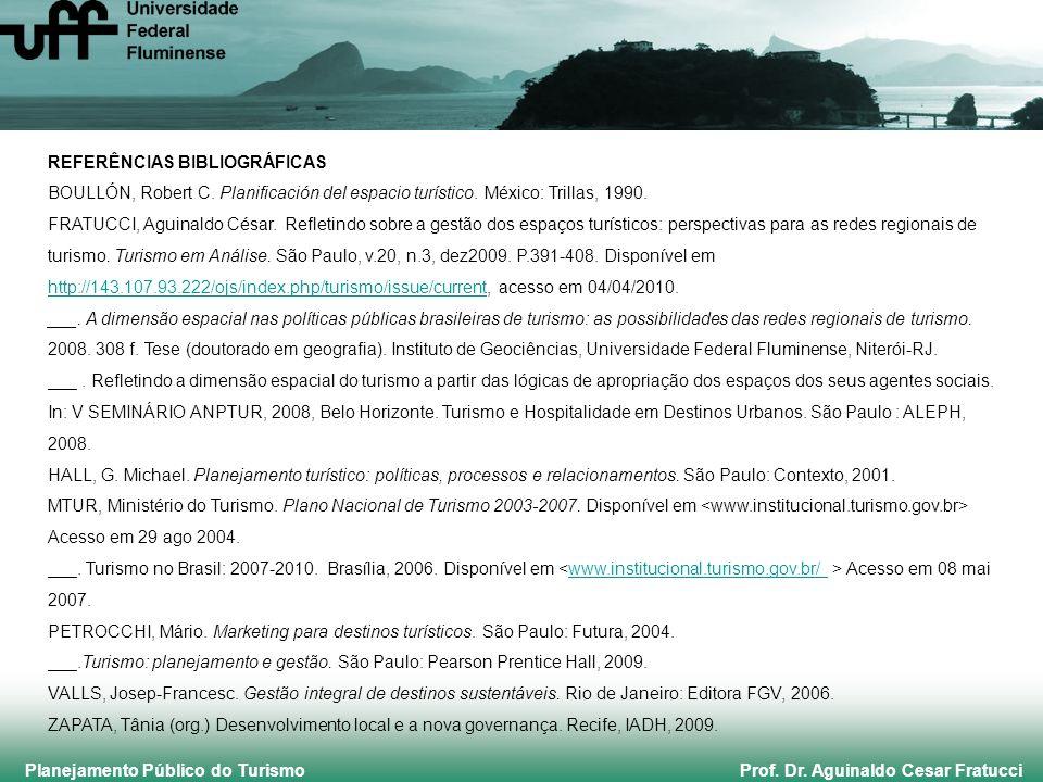 Planejamento Público do Turismo Prof. Dr. Aguinaldo Cesar Fratucci REFERÊNCIAS BIBLIOGRÁFICAS BOULLÓN, Robert C. Planificación del espacio turístico.