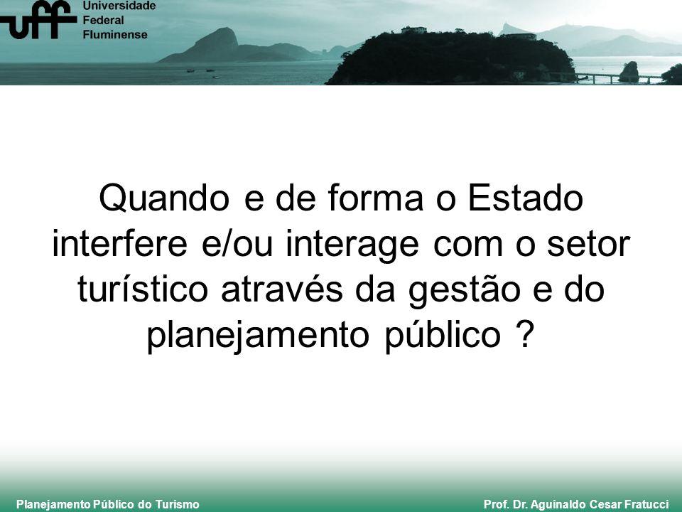 Planejamento Público do Turismo Prof. Dr. Aguinaldo Cesar Fratucci Quando e de forma o Estado interfere e/ou interage com o setor turístico através da