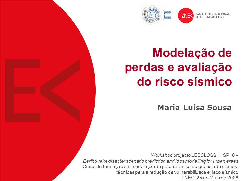 Modelação de perdas e avaliação do risco sísmico Maria Luísa Sousa Workshop projecto LESSLOSS – SP10 – Earthquake disaster scenario prediction and los
