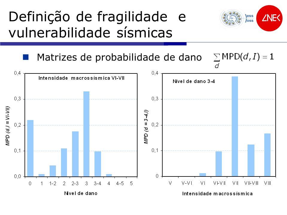 Definição de fragilidade e vulnerabilidade sísmicas Matrizes de probabilidade de dano