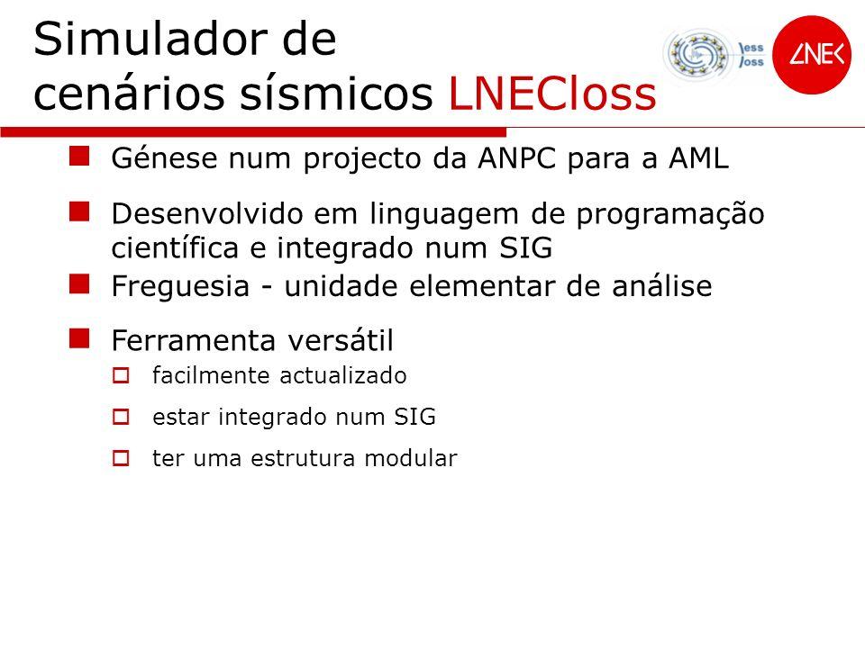 Simulador de cenários sísmicos LNECloss Freguesia - unidade elementar de análise Ferramenta versátil facilmente actualizado estar integrado num SIG te
