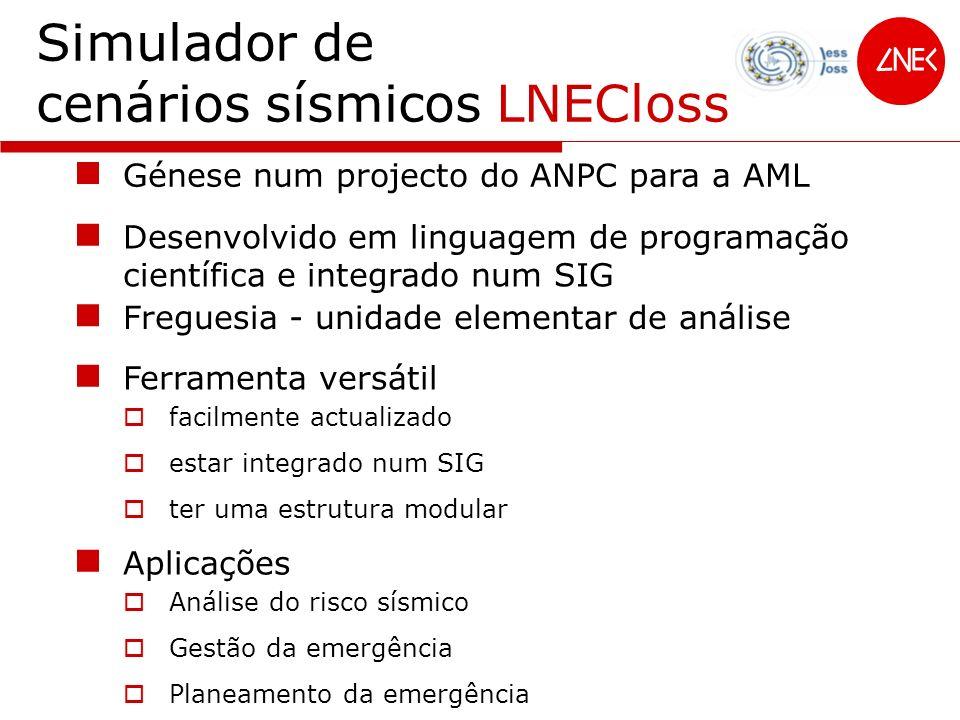 Simulador de cenários sísmicos LNECloss Génese num projecto do ANPC para a AML Desenvolvido em linguagem de programação científica e integrado num SIG
