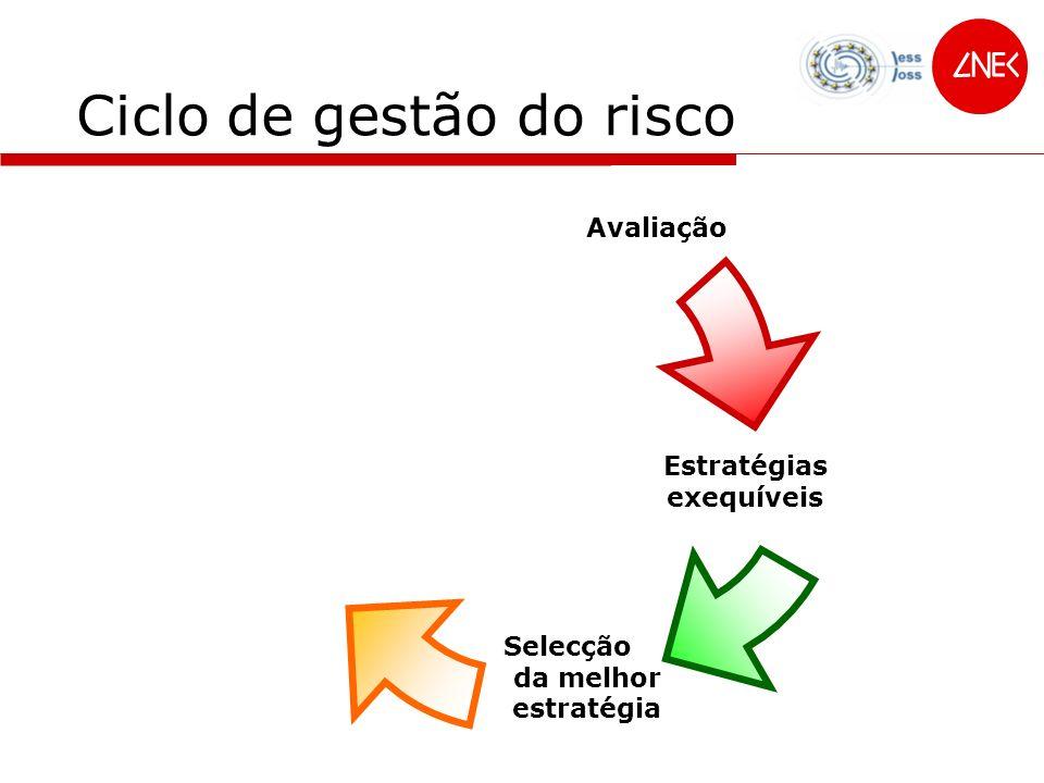 Ciclo de gestão do risco Avaliação Estratégias exequíveis Selecção da melhor estratégia