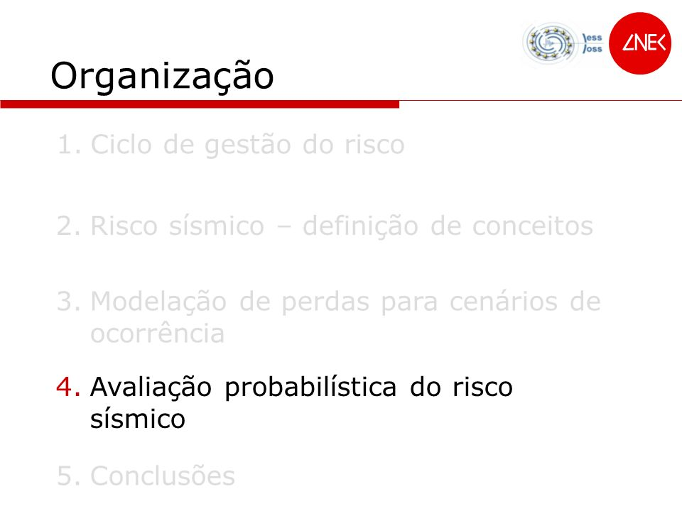 Organização 2.Risco sísmico – definição de conceitos 1.Ciclo de gestão do risco 3.Modelação de perdas para cenários de ocorrência 4.Avaliação probabil