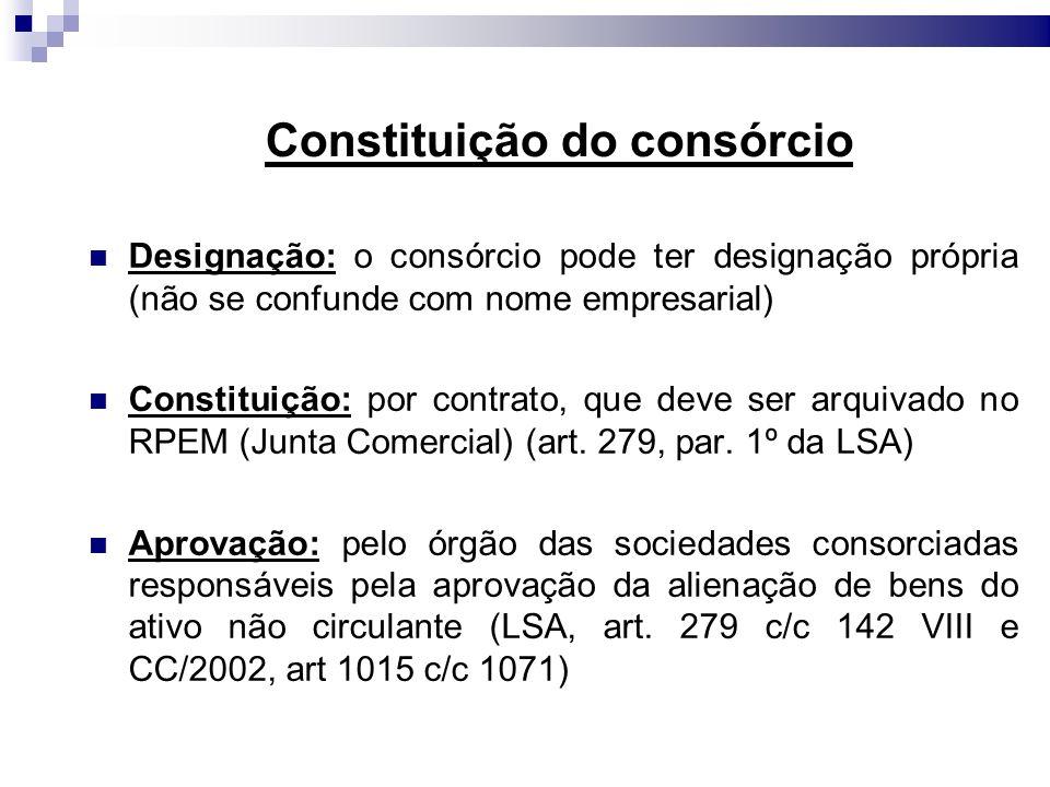 Constituição do consórcio Designação: o consórcio pode ter designação própria (não se confunde com nome empresarial) Constituição: por contrato, que d