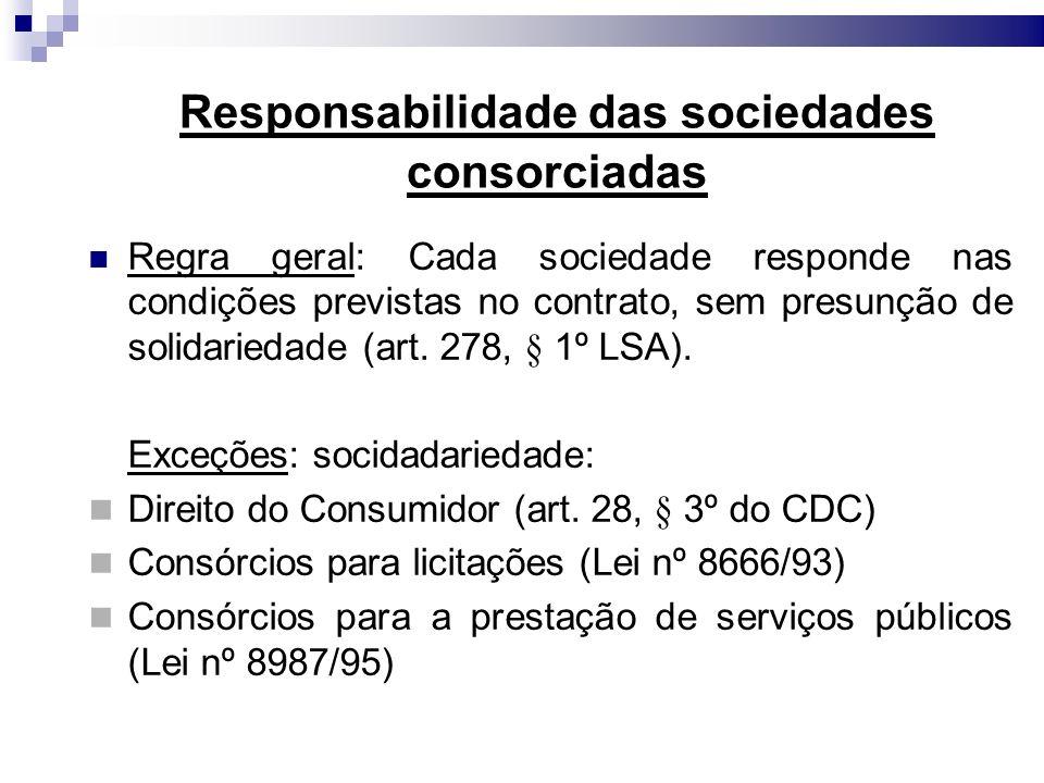 Responsabilidade das sociedades consorciadas Regra geral: Cada sociedade responde nas condições previstas no contrato, sem presunção de solidariedade