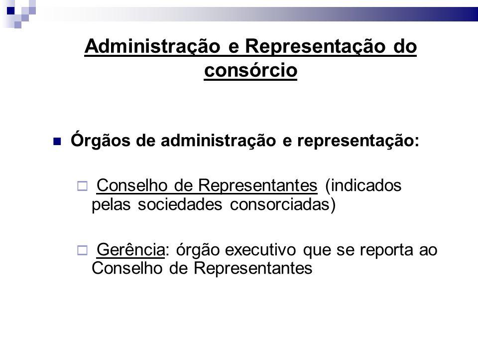 Administração e Representação do consórcio Órgãos de administração e representação: Conselho de Representantes (indicados pelas sociedades consorciada