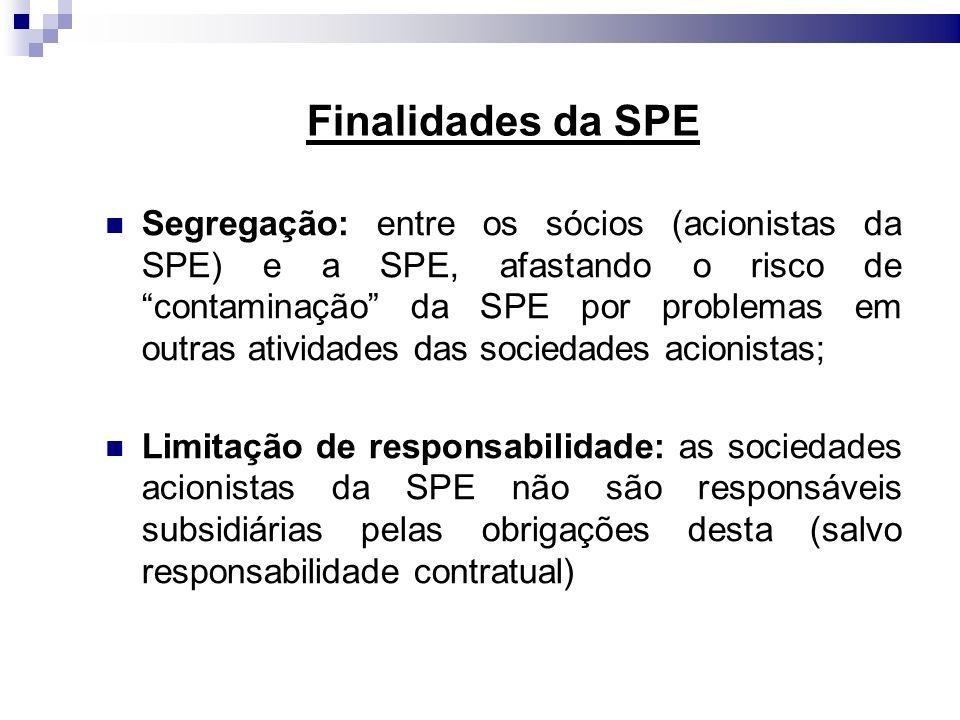 Finalidades da SPE Segregação: entre os sócios (acionistas da SPE) e a SPE, afastando o risco de contaminação da SPE por problemas em outras atividade