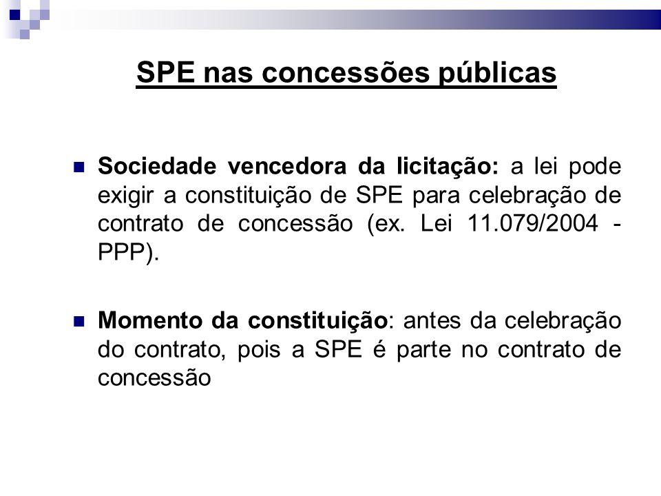 SPE nas concessões públicas Sociedade vencedora da licitação: a lei pode exigir a constituição de SPE para celebração de contrato de concessão (ex. Le