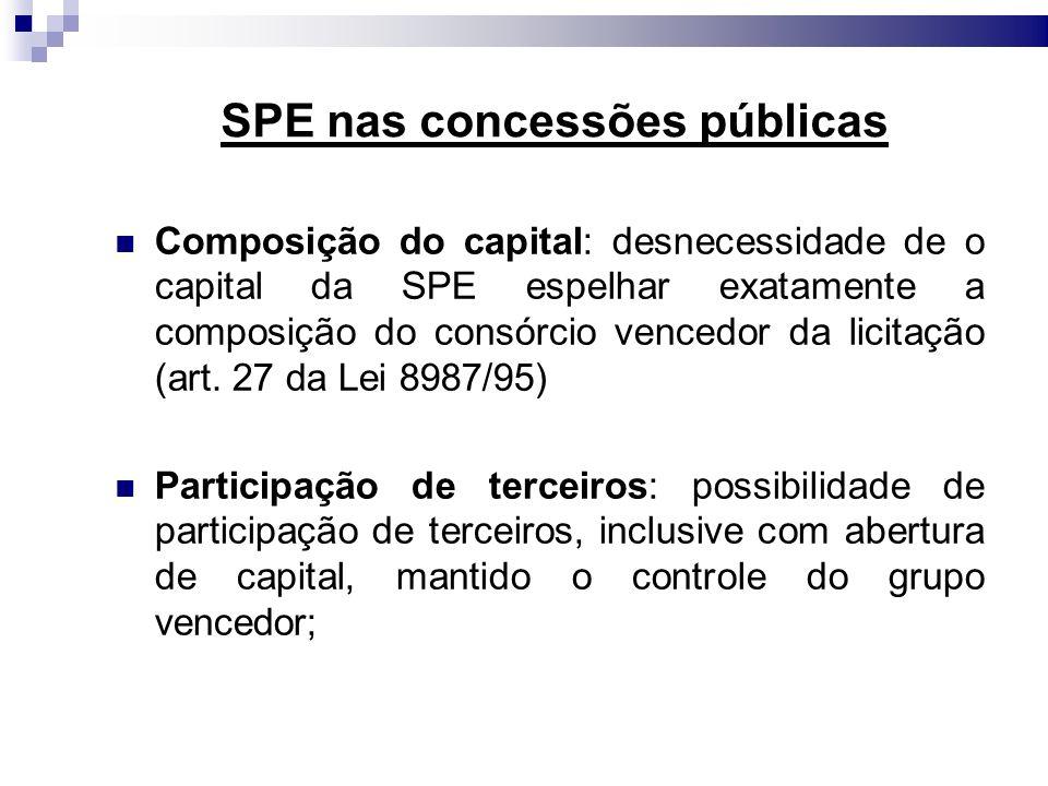 SPE nas concessões públicas Composição do capital: desnecessidade de o capital da SPE espelhar exatamente a composição do consórcio vencedor da licita