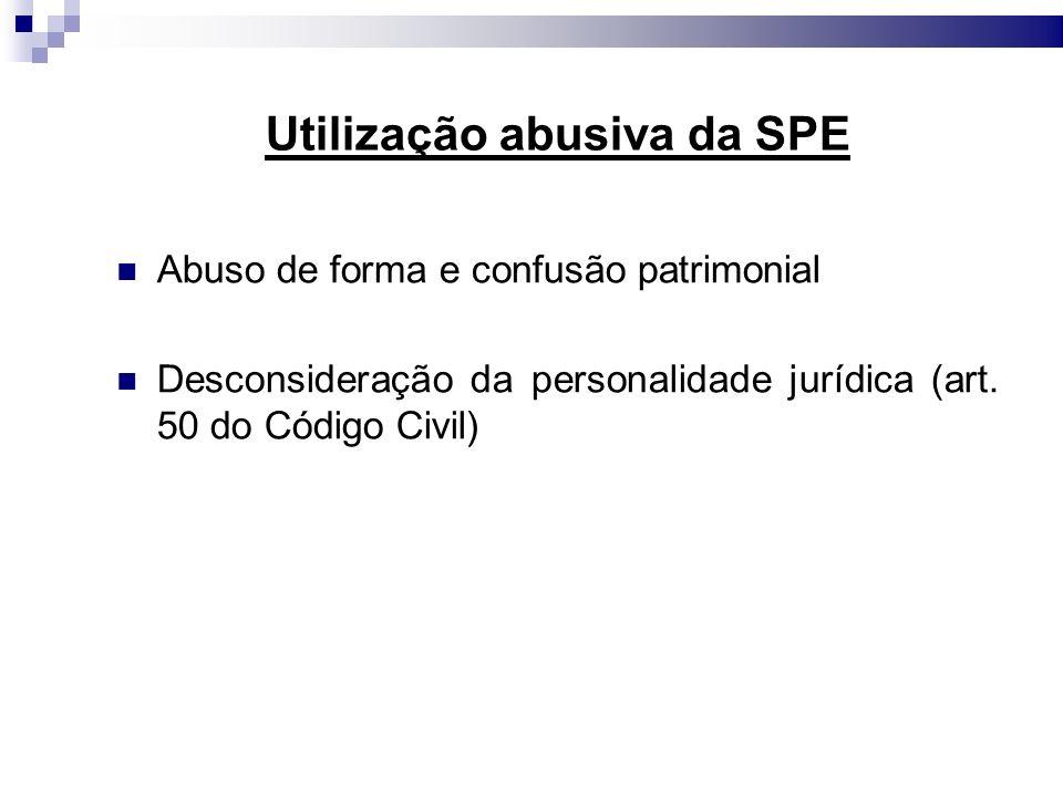 Utilização abusiva da SPE Abuso de forma e confusão patrimonial Desconsideração da personalidade jurídica (art. 50 do Código Civil)