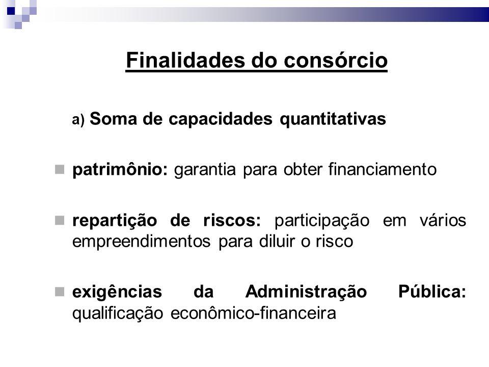 Finalidades do consórcio a) Soma de capacidades quantitativas patrimônio: garantia para obter financiamento repartição de riscos: participação em vári