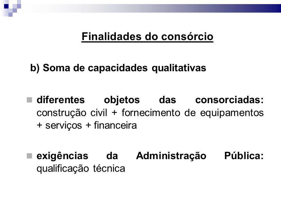 Finalidades do consórcio b) Soma de capacidades qualitativas diferentes objetos das consorciadas: construção civil + fornecimento de equipamentos + se